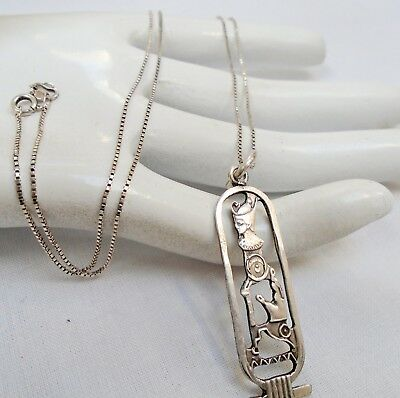 Fine quality vintage sterling silver Egyptian Revival pendant + sterling chain