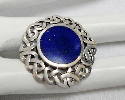 Fine vintage sterling silver & lapis Celtic design brooch