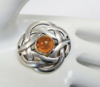 Fine quality vintage sterling silver & amber Celtic design brooch