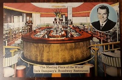 1940's Jack Dempsey Restaurant postcard, Meeting Place of the World