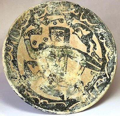 Ancient Islamic Middle Eastern Sgraffito Ceramic Bowl 11th– 12th Century AD