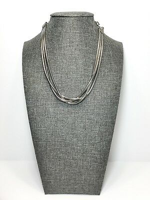 Vintage Runway Multi Strand Snake Chain Silver Tone Choker Necklace