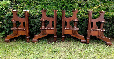 "Setof 4 Victorian Ornate Antique Highly Carved Mahogany Table Legs 24.5"" Tall"