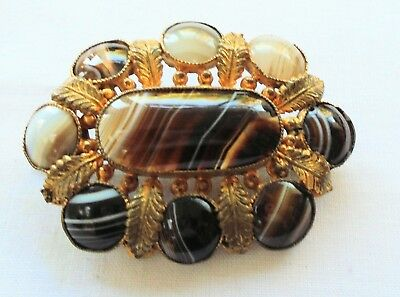 Large antique Victorian gold metal & banded agate ornate brooch