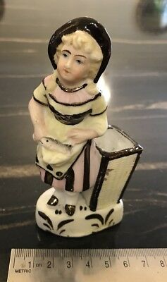 German Or Continental Victorian 19th C. Bisque Match Holder Girl With Fish