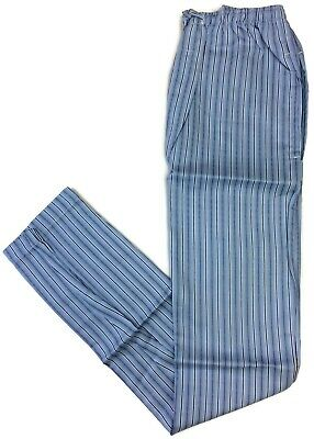 Blue Pin Stripe Pajama Pants for Men 100% Cotton Button Fly Side Pockets