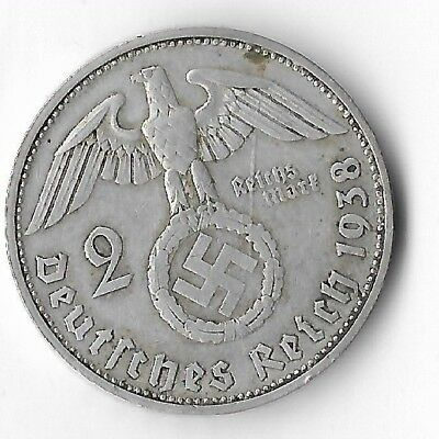 Rare Old Antique Silver 1938 WWII BERLIN Germany Eagle Great War Collection Coin