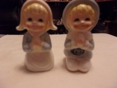 Vintage Praying Boy and Girl Figural Salt And Pepper Shaker Set