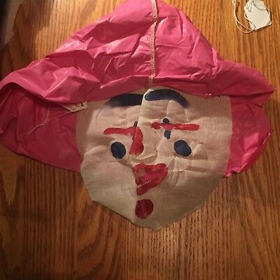 Vintage Halloween Cloth gauze 1930's Clown Mask !