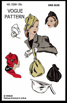 Hats Cap & BAG Fabric Material Sew Pattern VOGUE 5260 Millinery One Size VTG 50s