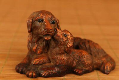Rare chinese old Boxwood Hand Carved Love Dog Statue Figure Netsuke collectable