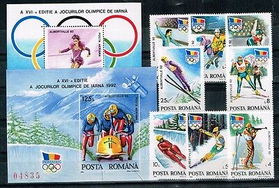 Romania.1992. Winter Olympics Game.Set + 2 Blocks A&B.MNH.**
