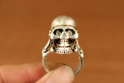 Big Rare chinese old Tibet Silver Hand Casting Skull Statue Ring