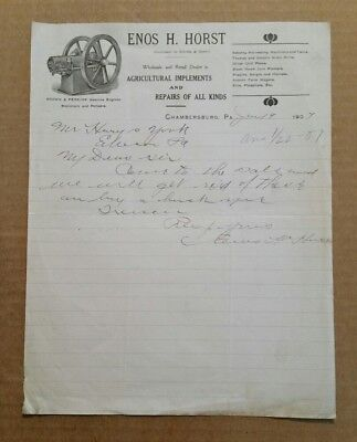 Enos H. Horst,Agricultural Implements,Chambersburg,Pa.,Letterhead,1907