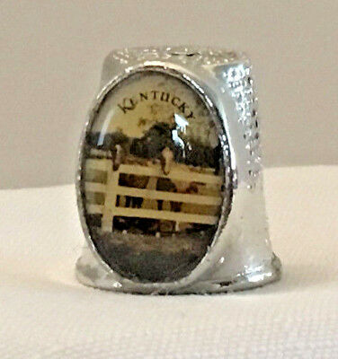 Collectible Thimble, Silver Color, Kentucky, with Horse Pictures on Shield
