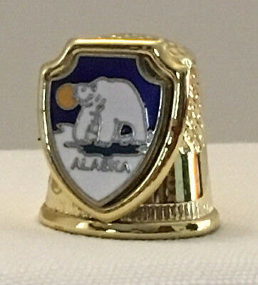 Collectible Thimble, Gold Color, Alaska, Shield wtih White Bear and Midnight Sun