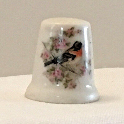 Collectible Thimble Porcelain, Rose-breasted Grosbeak, with flowers