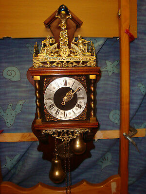 "Vintage JAW Zaanse ""Nu Elck Syn Sin"" Clock Runs Strikes very well  great cond"