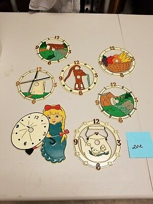 Lot of 7 Assorted Plastic Clock Faces in color see below for list #202