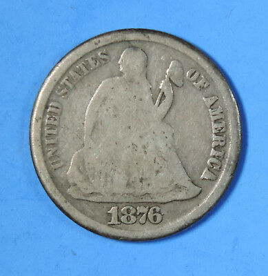 1876 CC US Silver Seated Liberty Dime Type Coin Carson City