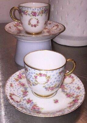 PJ.Pouyat LIMOGE Gold Roses Garland Wedding Bouquet2 Demi Cup Saucer Sets Early