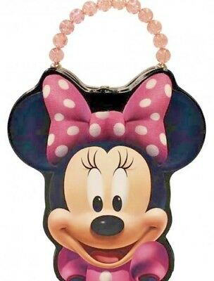 Minnie Mouse Tin Box Carry All Face Shaped Purse with Beaded Handle Metal Clasp