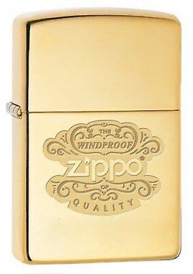 Zippo Windproof Brass Lighter With Ornate Design & Zippo Logo, 67555, New In Box