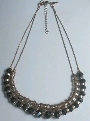 Vintage Gold Necklace Black and Clear Cut Beads