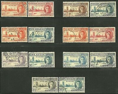 British Colonies, 1946 VICTORY Issues. 7 Different Countries. USED. (Lot # 2)