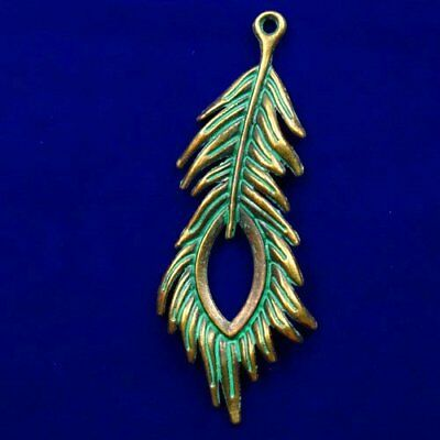 Carved Brass Bronze Feather Pendant Bead 70x27x3mm L60932