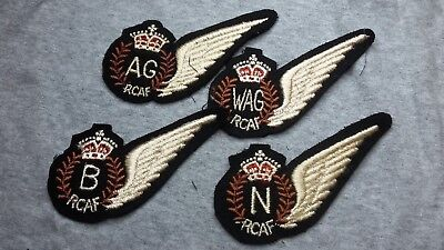 Group Of 4 Rcaf Wwii Half Wings Ag, B,n,wag In The Straight Form