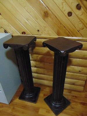 "Solid Heavy Vintage Carved Hard Wood 39""t. Columns"