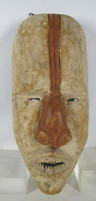 Vintage African Suku Basuku Tribe Hand Carved & Painted Wood Face Mask #27 yqz