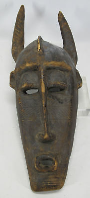 Vintage African Toma Tribe Hand Carved Wood Face Mask with Horns Liberia #29 yqz
