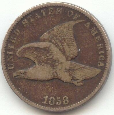1858 Flying Eagle Cent, Small Letters, VG Details, True Auction, No Reserve
