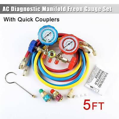 4 Way AC Manifold Gauge Set R410A R404A R22 w/Hoses+ Hi & Low Coupler Adapters