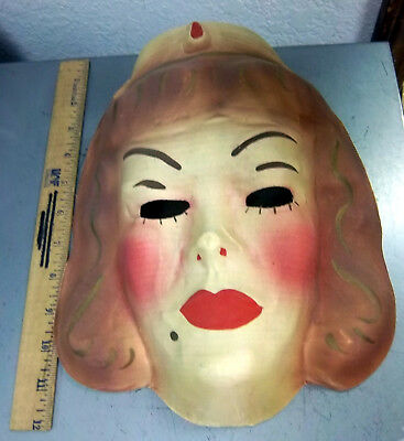vintage Gauze NURSE colorful creepy Halloween mask from the 1940s, UNIQUE!