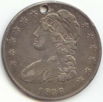 1836 Capped Bust Half Dollar, Nice XF, Hole, True Auction, No Reserve