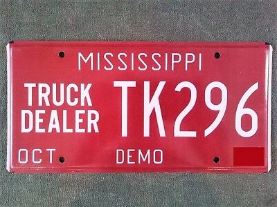 Mississippi Truck Dealer DEMO License Plate #TK296 Demonstrator Ford Chevy Dodge