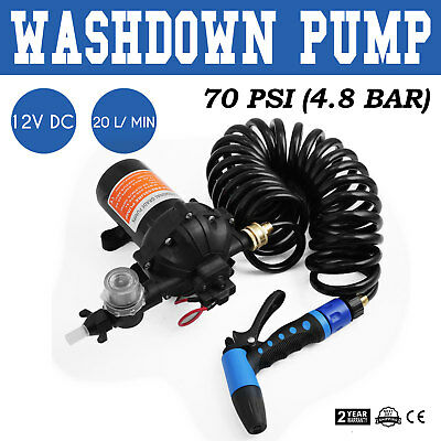 12V 70 PSI Washdown Spray Pump Kit 5.5 GPM 20 Litres/Min Diaphragm Pump