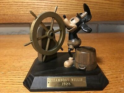 """Walt Disney """"steamboat Willie"""" 1928 Authentic Wood Carving By Anri W/ Coa"""