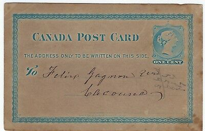 PHILATELY POSTAL STATIONARY canada post card 1888 dated in french