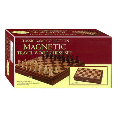Classic Game Collection Magnetic Travel Wooden Chess Set NEW