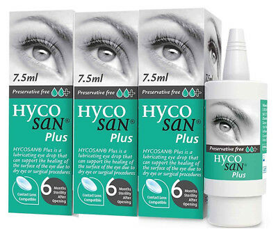 3 PACK Hycosan Plus Preservative Free Eye Drops For Dry Eye