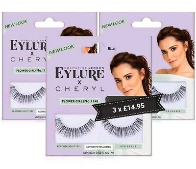 75ea63254b9 3x Eylure Cheryl Lengthening No.114 False Eyelashes Fluffy Angled Finish  Reduced