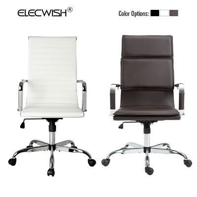 High Back Computer Chair Office Swivel Leather Task Desk Seat Adjustable Home