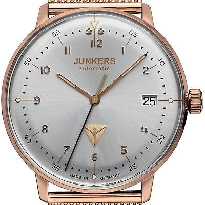 Junkers 6069M-4 - Bauhaus Lady's Rosègold / Milanaise Silver Dial Automatic Neu