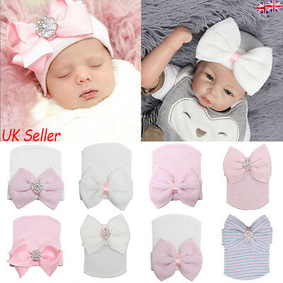 Baby Girls Infant Colorful Soft Hat with Bow Cap Newborn Beanie Striped Diamond
