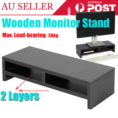 2 Layers Computer Screen Desktop Stand Wooden Monitor Laptop TV Riser Bracket