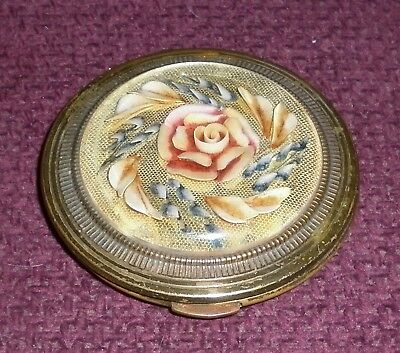 Kigu London Rose Carved Lucite Brass Powder Compact Good Condition